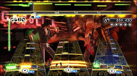 MEST ENGASJERENDE: «Rock Band 2» er hakket bedre enn «Guitar Hero: World Tour» til å lage skikkelig rockestemning i stua. Foto: HARMONIX/EA