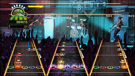 VELKJENT: Den visuelle stilen i «Guitar Hero: World Tour» burde være velkjent for tilhengere av serien, selv om både trommer og vokal har blitt lagt til. Foto: NEVERSOFT/ACTIVISION
