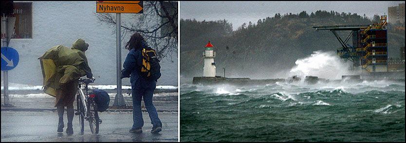 STORMFULLT: I 2003 var det storm med orkan i kasta ved Trøndelagskysten. I kveld kan det bli ganske guffent igjen. Foto: Scanpix