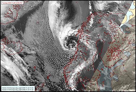 SLIK SER VERA UT: Dette er uværet Vera, observert fra satellitt klokken 11.30 i dag. Foto: Met.no