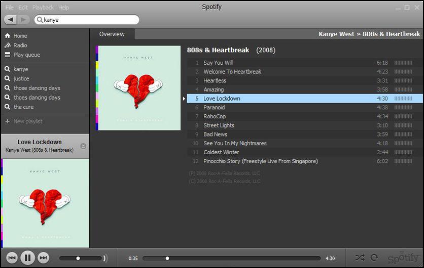 GRATISTJENESTE: Spotify lar deg lytte til musikk helt gratis. Så lenge du er koblet til internett. Foto: Skjermbilde