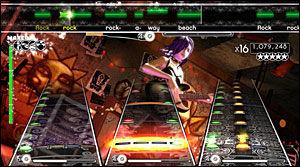 ROCKEFEST: «Rock Band» introduserte trommer og vokal i rockekonseptet Harmonix skapte med «Guitar Hero». Dermed ble rockefesten i egen stue komplett. Foto: HARMONIX/EA