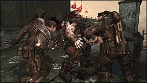MACHO: Det er ikke akkurat manko på testosteron i «Gears of War 2». Foto: EPIC GAMES/MICROSOFT