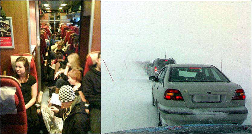 JULETRAFIKK: Juletogene er veldig fulle og to studenter må sitte i midtgangen under togturen mellom Trondheim og Oslo. Det er dessuten ventet uvær på fjellovergangene i helgen. Flytrafikken ser imidlertid ut til å kunne flyte fint. Bildet fra bilkolonnen over Beiarfjellet i Nordland er fra i fjor vinter. Foto: Martin Lundsvoll og Scanpix