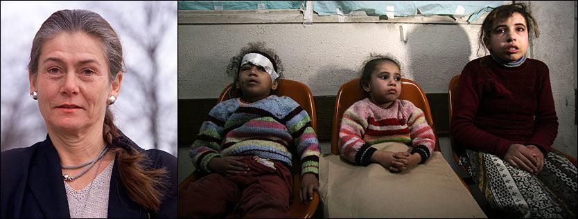 KRIGSTRAUMER: Norsk Psykologforening og Nora Sveaas (t.v.) krever umiddelbar stans i krigshandlingene på Gaza. De tre jentene til høyre, hvorav minst én er fysisk skadet, sitter på venterommet på Shifa-sykehuset i Gaza, der de norske legene Mads Gilbert og Erik Fosse arbeider med å behandle krigsskadede. Foto: Aftenposten/Associated Press