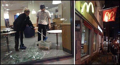 STORGATA: McDonalds i Storgata er en av flere McDonalds-restauranter som har fått vinduene sine knust. Foto: Bjørnar Tommelstad