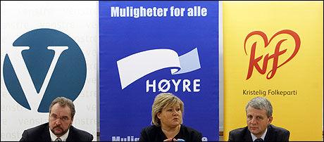 TRE PARTIER: Høyre, Kristelig Folkeparti og Venstre markerer seg som regjeringsalternativ ved å legge fram felles finanstiltak. Foto: Scanpix
