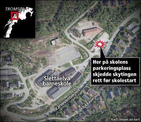 VED SKOLE: Skytingen skjedde utenfor Slettaelva skole på Kvaløysletta i Tromsø kommune. Foto: Grafikk: Tom Byermoen