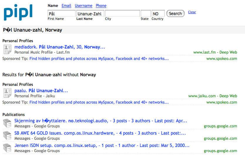 DETALJERT: Slik ser et søkeresultat ut på Pipl, med mange detaljer på personen som er oppsøkt. Foto: Skjermbilde