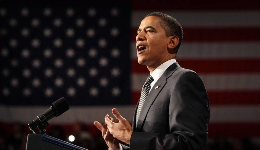TALER: Barack Obama la frem sin boligkriseplan på Dobson High School i Arizona. Foto: AP