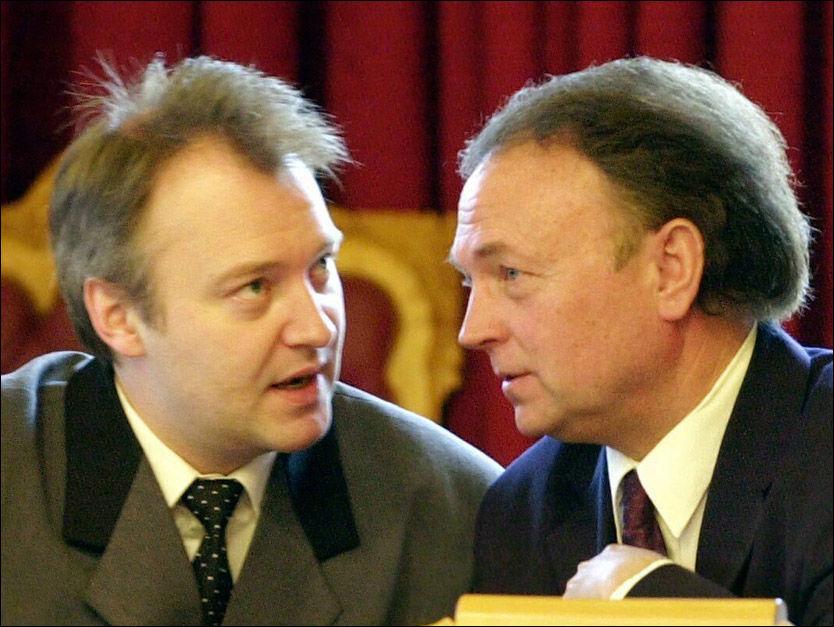 RADARPAR: Her er duoen Vidar Kleppe (t.v.) og Øystein Hedstrøm på sammen på Stortinget. Nå er de glade for at Siv Jensen har børstet støvet av gammel retorikk. Foto: Scanpix