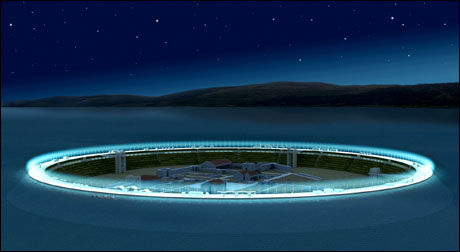 LYSENDE RING: Seuthopolis vil kanskje være aller mest spektakulær om kvelden. Illustrasjon: Seuthopolis National Initiative