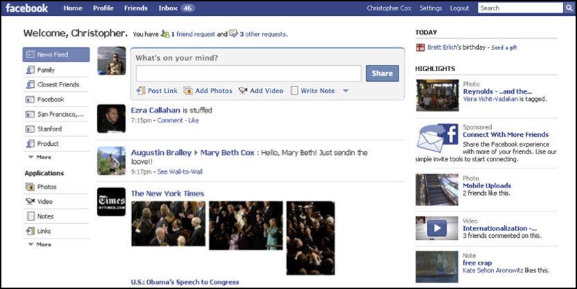 NY DESIGN: Facebok har endret seg og blitt mer «Twitter-aktig». Foto: Facebook