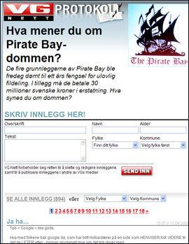Mange hundre VG Nett-lesere har sagt sin mening om Pirate Bay-dommen. Foto: