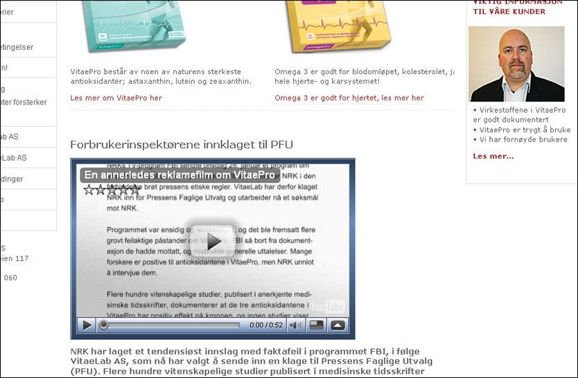 KLAGER: VitaeLab AS klaget Forbrukerinspektørene inn for PFU. Foto: Faksimile