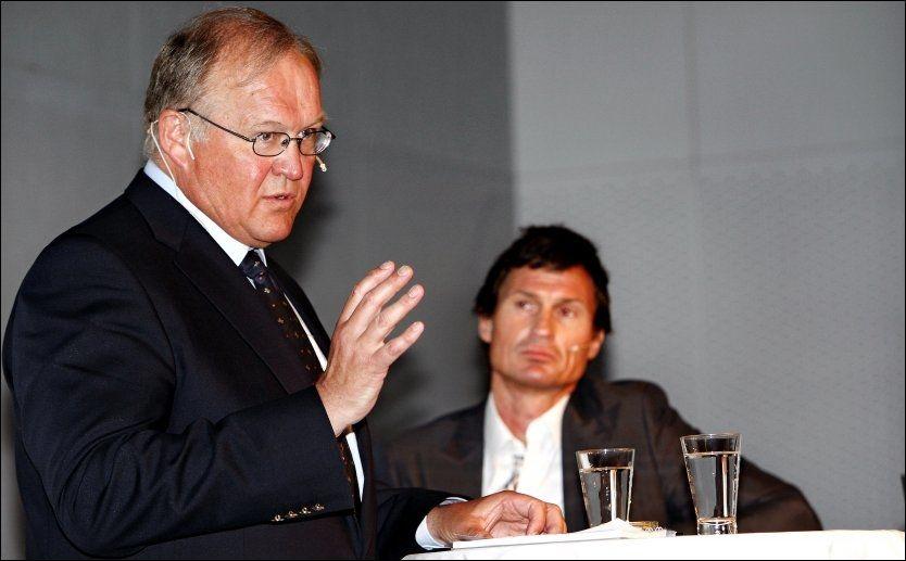 SNAKKET OM MILJØ: Sveriges tidligere statsminister Gøran Persson var invitert til miljømøtet i Oslo av Petter Stordalen (t.h.). Foto: Jan Petter Lynau; VG