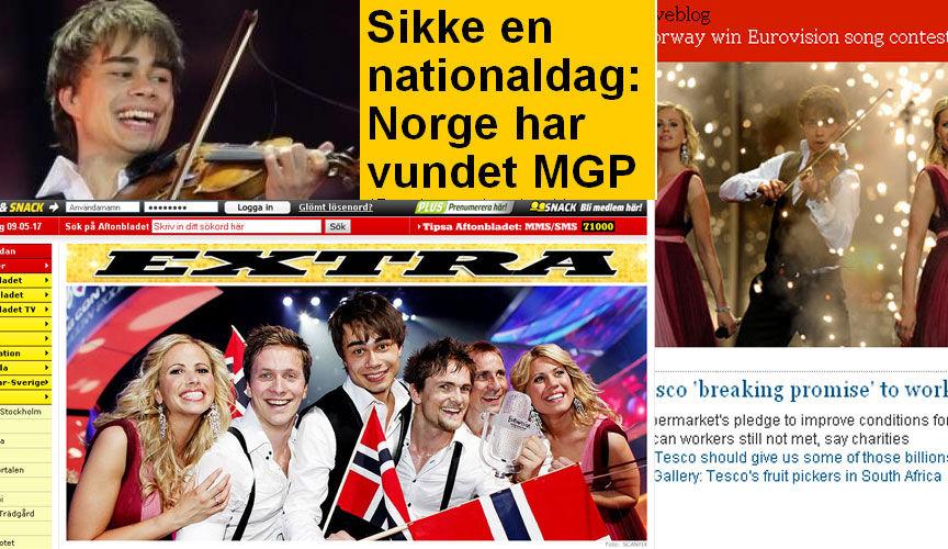 REAKSJONER: Avisene Aftonbladet, Ekstra Bladet og The Guardian har alle slått stort opp den norske utklassingsseieren i Melodi Grand Prix. Foto: