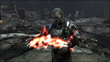 FÅR SUPERKREFTER: Sykkelbudet Cole leverer en pakke som inneholder en mystisk kule. Når kulen eksploderer, får han de elektriske superkreftene som preger PS3-spillet «Infamous». Foto: SUCKER PUNCH/SONY