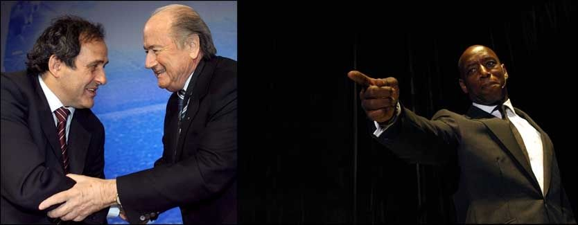 KRITISK: Ian Wright (høyre) mener at Michel Platini og Sepp Blatter ønsker at Barcelona vinner Champions League-finalen. Foto: EPA/Reuters