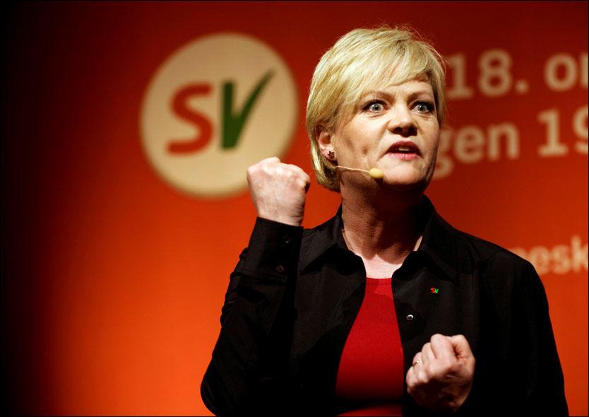 KRAFTIG FREM: SV er nær ved å doble velgeroppslutningen, ifølge en meningsmåling som Synovate har gjort for Dagbladet. Foto: SCANPIX, TOR ERIK H. MATHIESEN