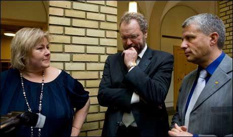 FREMMER MISTILLIT Partilederne Erna Solberg (H), Lars Sponheim (V), og Dagfinn Høybråten (KrF) . Foto: Scanpix