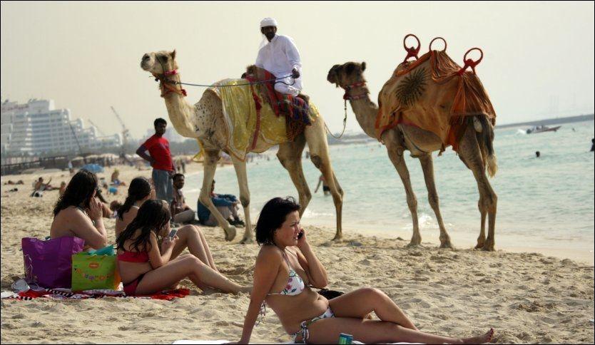 EKSOTISK: Slikt kan du oppleve på stranda i Dubai - ett av verdens mest solsikre steder med opp mot 360 soldager i året. Foto: AFP