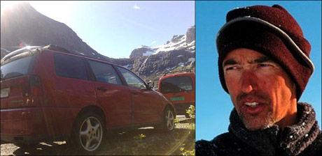 DØDSULYKKE: De to klatrerne, som har vært savnet siden i går, er funnet døde. Hollendaren er fjellet til venstre på bildet. Til høyre Stein Tronstad i Norges klatreforbund. Foto: RONALD JOHANSEN, BLADET TROMSØ/PRIVAT