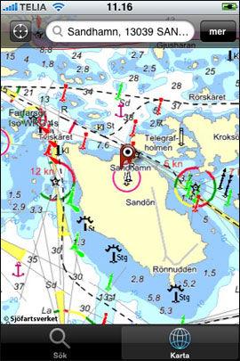 LETT TILGJENGELIG: Det svenske sjøkartet kan også lastes ned til iPhone. Foto: Produsent