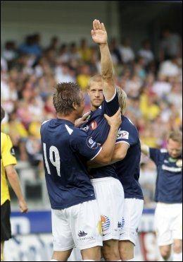 JUBEL: Mattias Andersson jubler etter å ha scoret sitt første mål siden 31. august i fjor. Foto: Scanpix