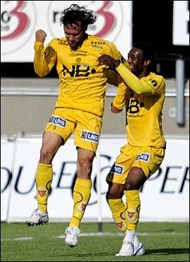 SCORET: Thiago Martins scoret igjen for Glimt, men nok en gang var det forgjeves. Foto: Scanpix