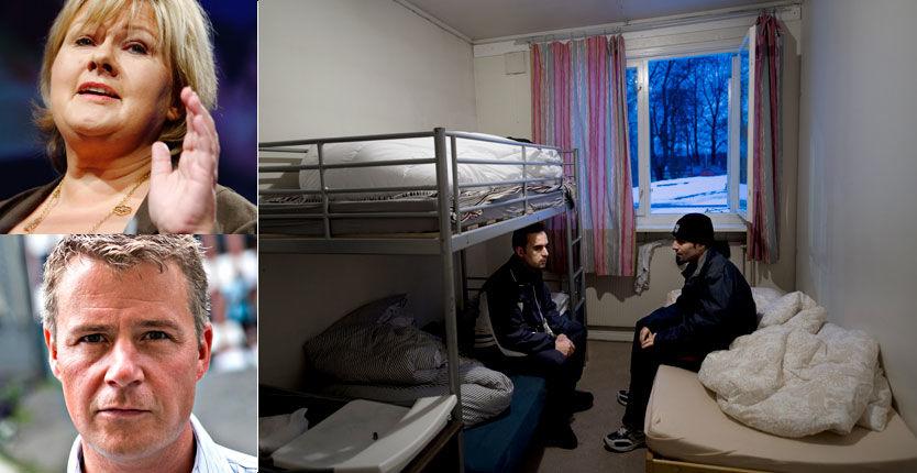 KRITISKE: Høyre-leder Erna Solberg og Per Willy Amundsen (Frp) er kritske til regjeringens innvandringspolitikk. Foto: Robert S. Eik/Alf Øystein Støtvig/Scanpix
