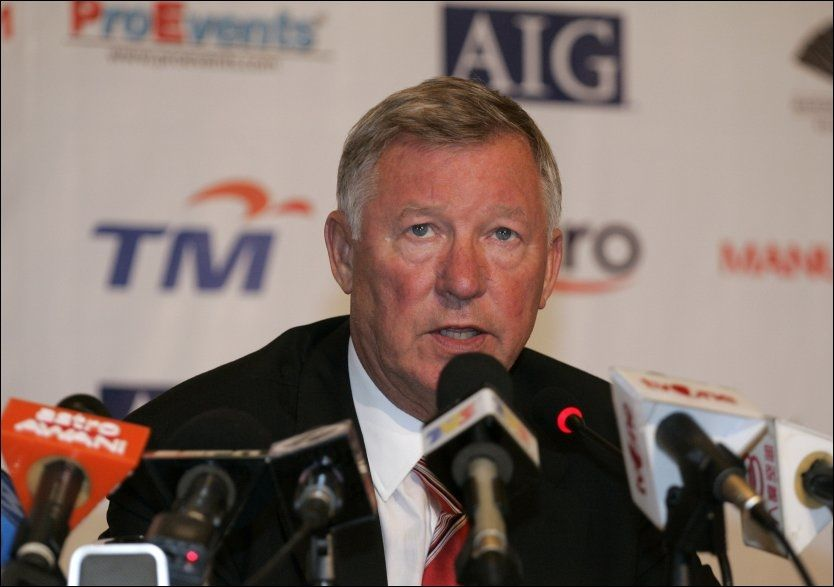 SVARTE PÅ MAME-SPØRSMÅL: Sir Alex Ferguson under dagens pressekonferanse i Malaysia. Foto: AP