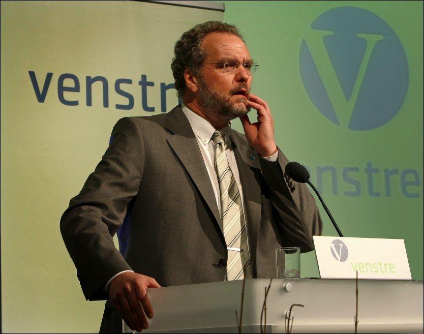 UNDER SPERREGRENSEN: Lars Sponheim og Venstre kommer dårlig ut i ny meningsmåling. Partiet havner under sperregrensen ved høstens stortingsvalg om det går slik Dagens Næringslivs meningsmåling viser. Foto: Hugo Bergsaker