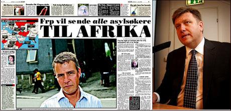 FRP I MEDIA: Partisekretær Geir A. Mo (t.h.) sier det er en bevisst mediestrategi å komme med utspill midt på sommeren slik hans partikollega Per-Willy Amundsen gjorte om asylmottak i VG 11. juli. Foto: Faksimile/Trond Solberg