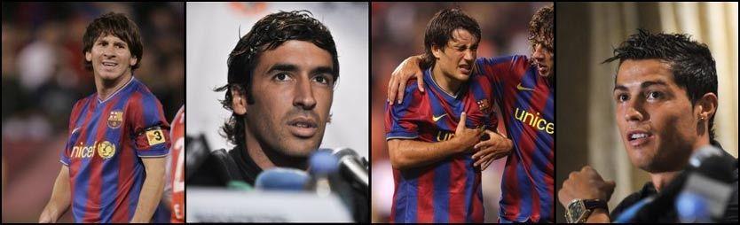 I SORG: Lionel Messi og Barcelona spilt emed svart sørgebånd i natt til minne om Dani Jarque. Raul, Bojan, Carlos Puyol og Cristiano Ronaldo er også lei seg for det som har hendt med Espanyol-spilleren. Foto: Reuters/AFP