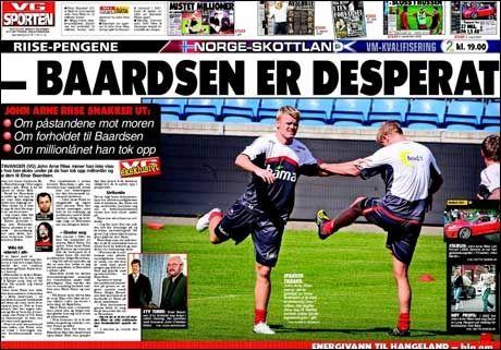 DAGENS VG: John Arne Riise snakker i dagens VG om påstandene fra tidligere agent Einar Baardsen Foto: VG