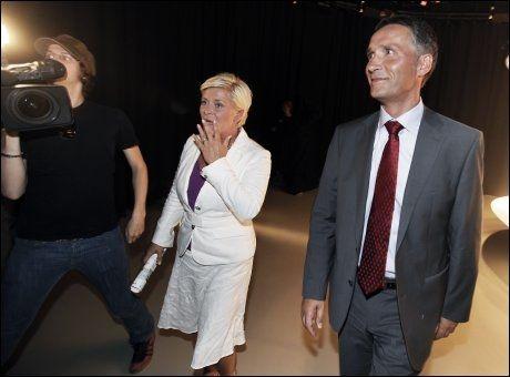 TILBAKE: Både Jens Stoltenberg og Siv Jensen går tilbake på meningsmålingene. Foto: Nils Bjåland