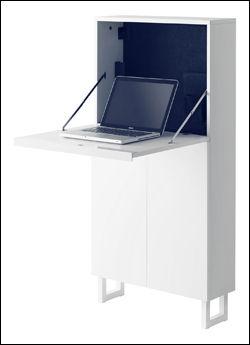 LUDVIG: Dette nye arbeidsbordet fra IKEA tar opp svært lite plass når det ikke er i bruk, og har en del skapplass. Foto: IKEA
