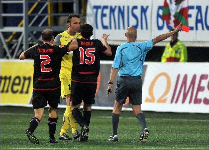 FORBANNET: Sead Ramovic ble utvist for å ha dyttet Javier Francisco Yeste på overtid. Foto: Scanpix