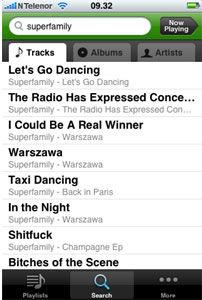 Søk er mer oversiktlig enn i pc-versjonen av Spotify.