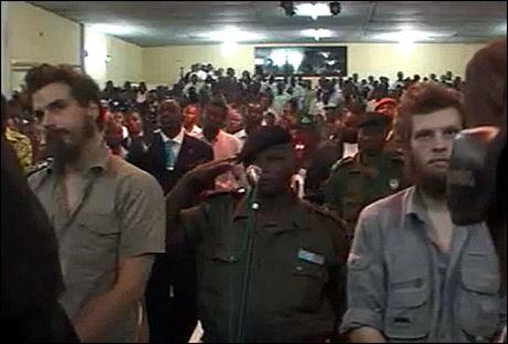 DØMT TIL DØDEN: Tjostolv Moland og Joshua French ble dømt til fem ganger døden i Kongo i tirsdag. Foto: VGTV