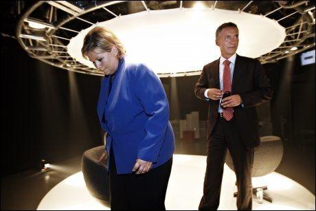 SKATTEKRANGEL: Statsminister Jens Stoltenberg og Høyre-leder Erna Solberg havnet i ny heftig skattedebatt i TV2 onsdag kveld. Foto: