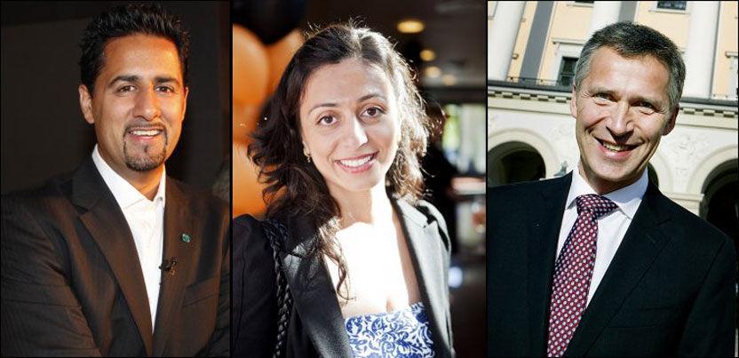 GRATULERER: Abid Raja, Hadia Tajik og Jens Stoltenberg gratulerer alle med id. Foto: Scanpix