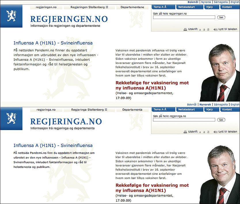 SUR OG BLID: Statsråd Bjarne Håkon Hanssens to ansikter. Skjermdump fra cirka 10.00 mandag morgen. Foto: Skjermdump, regjeringen.no