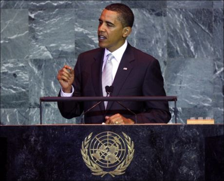 PÅ TALERSTOLEN: President Barack Obama under FNs generalforsamling. Foto: AFP