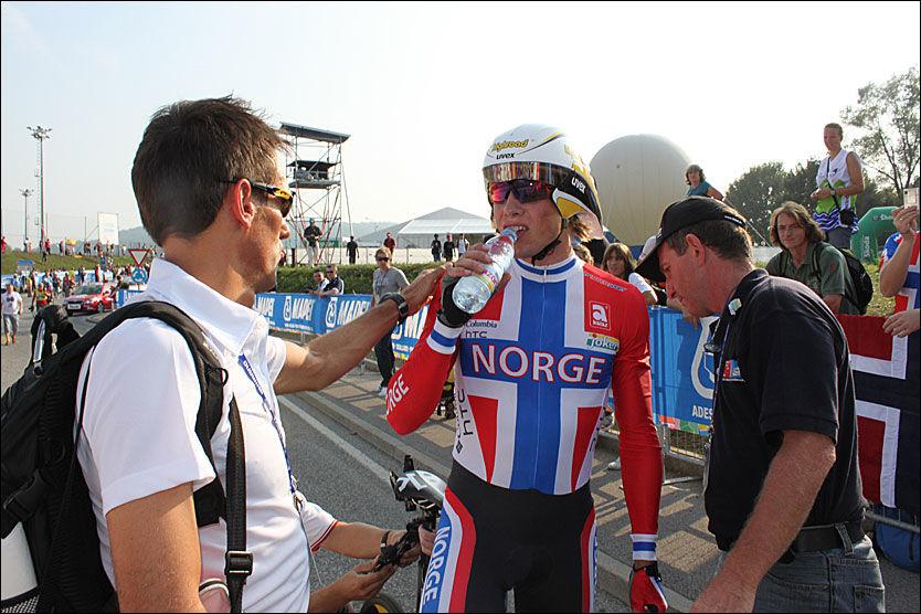 SLITEN: Edvald Boasson Hagen fikk det ikke til å stemme under dagens temporitt i VM. Foto: Anders K. Christiansen/VG Nett