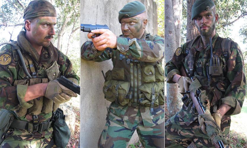 PÅ SKYTEBANEN: Nye bilder viser Tjostolv Moland (til venstre) og Joshua French (til høyre) med kamuflasjeutstyr og våpen sammen med SIG-sjef Torgeir Friksen. Foto: Privat/TV 2