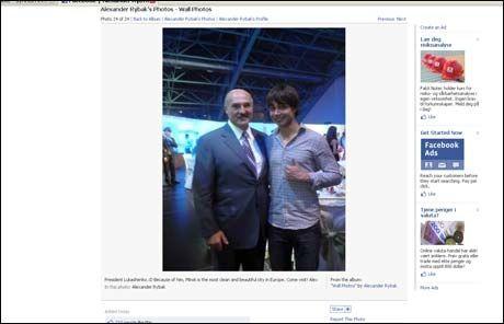 TOMMELEN OPP FOR LUKASJENKO: Aleksandr Lukasjenko og Alexander Rybak. Foto:Foto: Skjermdump fra Facebook