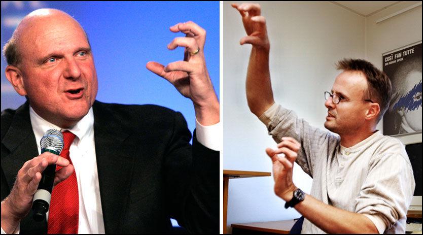 DAVID MOT GOLIAT: Microsofts sjef Steve Ballmer (t.v.) må gi etter for EU-presset. Operas tekniske direktør Håkon Wium Lie venter allikevel med å feire. Foto: Reuters / Kim Nygård