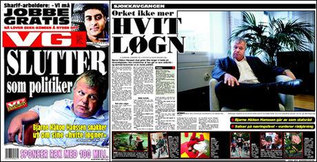 GÅR AV: Fyldig intervju med Bjarne Håkon Hanssen i dagens VG. Foto: FAKSIMILE